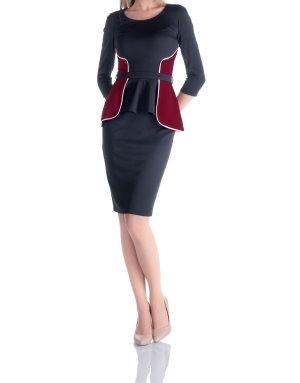 Robe de cocktail noir-bordeau tissu mixte