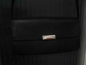 Elegante, kleine schwarze Schultertasche aus Saffianoleder