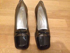 Escarpins Mary Jane noir-gris vert cuir
