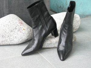 Elegante Leder-Stiefelette, schwarz
