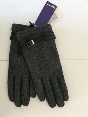 Mexx Leather Gloves black-silver-colored leather
