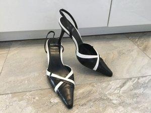 Elegante Lederpumps in schwarz-weiß