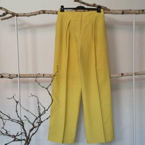 Stefanel Pantalón de lino amarillo lyocell