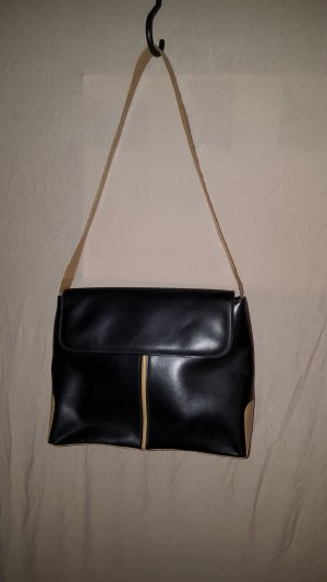 elegante Partytasche schwarz mit beigen Applikationen