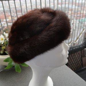 Chapeau en fourrure brun-brun noir fourrure