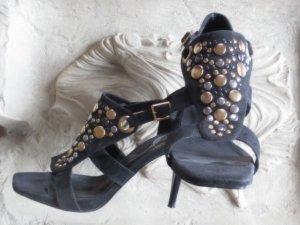 elegante Perlen Sandaletten mit Nieten Black SIZE: 39