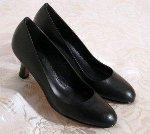 Elegante Pumps Schwarz Total aus Leder Gr. 39