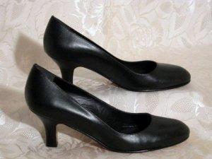 Elegante Pumps Schwarz Total aus Leder Gr. 40
