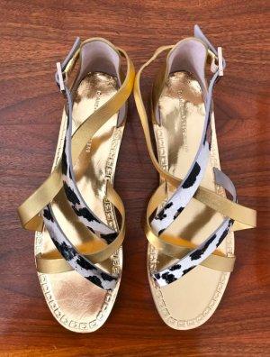 ◉ Elegante Riemchen Sandalen Gold-Schwarz-Weiß  ◉