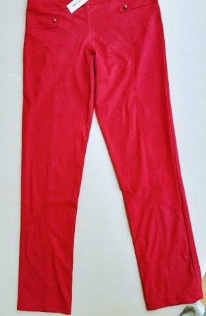 "Elegante  rote Hose von ""Monaco Blue"" in Velourleder-Optik - Gr. XL - 46 -"