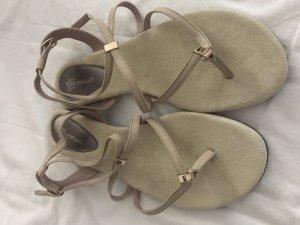 Sandalo toe-post beige chiaro-oro