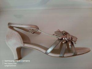 Patrizia Dini T-Strap Sandals rose-gold-coloured-beige suede