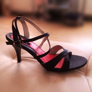 Elegante Sandaletten - Riemchen Sandalen Abendschuhe - Schwarz - Größe 37