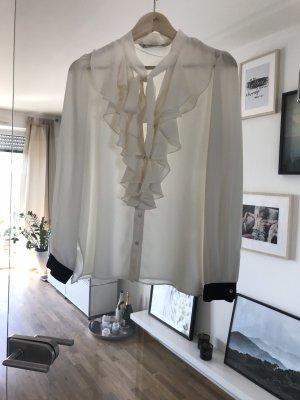 Zara Basic Blusa collo a cravatta bianco sporco-nero