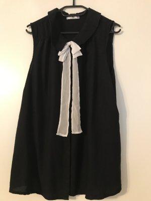 AJC Blusa collo a cravatta nero-bianco