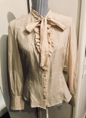 Pepe Jeans Tie-neck Blouse oatmeal cotton