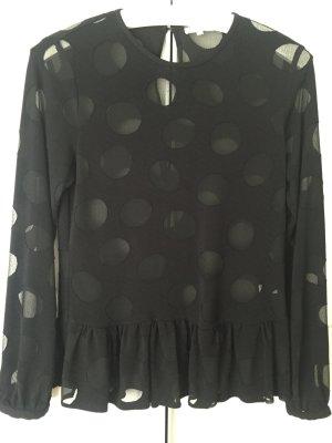 Elegante schwarze Bluse mit Dot-Muster von Lilienfels