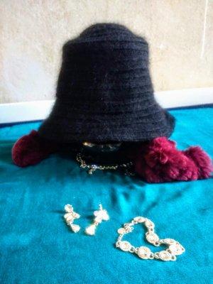 Cappello cloche nero Lana d'angora