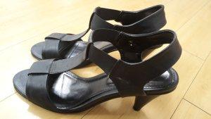 elegante schwarze Peeptoe Sandaletten