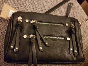 Elegante, schwarze Umhängetasche mit Goldketten-Trägern von Mix. No6