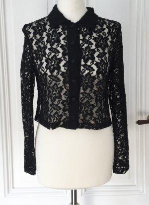 elegante schwarze Vintage Crop Bluse aus Spitze mit verspielten Knöpfen