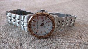 Elegante Silber-Róse gold Uhr