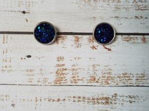 Zarcillo color plata-azul oscuro