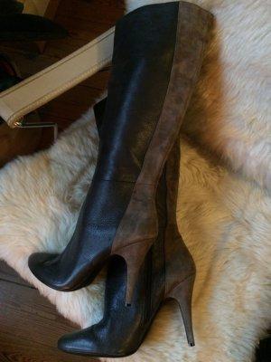 elegante Stiefel, extravagant, Wildleder, Glattleder, tolles graubraun, NEU, Gr. 40