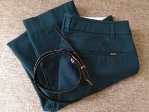 Elegante Stoffhose mit schmalem Gürtel, petrolblau