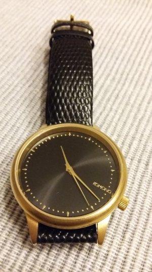 Elegante  Uhr mit echtem Leder und vergoldetem Gehäuse