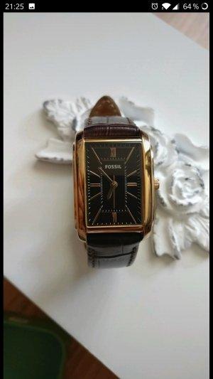 Elegante Uhr von Fossil, Vintage, braunes Leder, Roségold, neuwertig