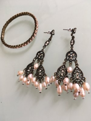 Vintage Statement Earrings bronze-colored-pink