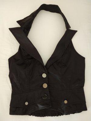Amisu Gilet de costume noir-argenté