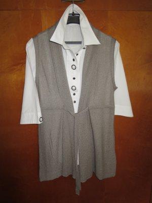 Taifun Long Knitted Vest grey brown polyacrylic