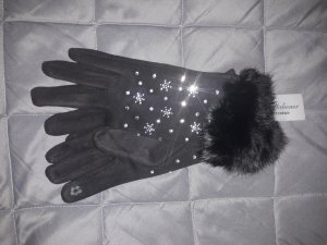 Fur Gloves silver-colored-black suede