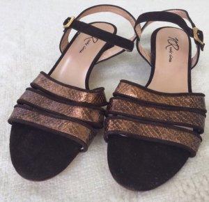 Sandalias de tiras color bronce-marrón oscuro