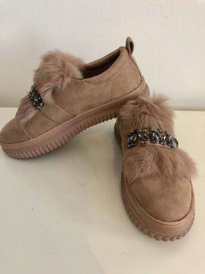 Sneaker slip-on color cammello-talpa Pelliccia ecologica