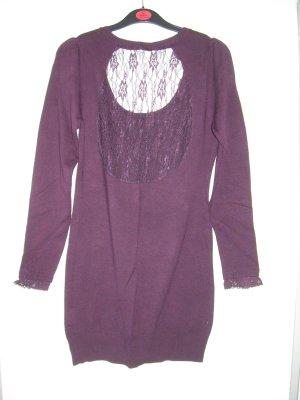 eleganter aubergine-farbener Long-Pullover C&A Gr. L 40-42 m. Spitze rückenfrei