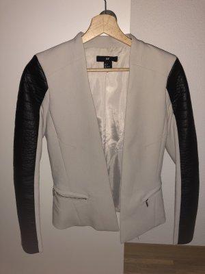 H&M Blazer de esmoquin negro-crema