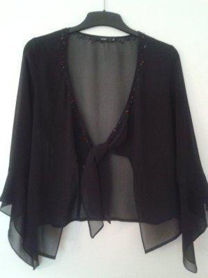 Eleganter Bolero / Bluse aus transparentem schwarzen Stoff