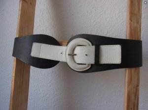 Vintage Cinturón pélvico blanco-negro Imitación de cuero