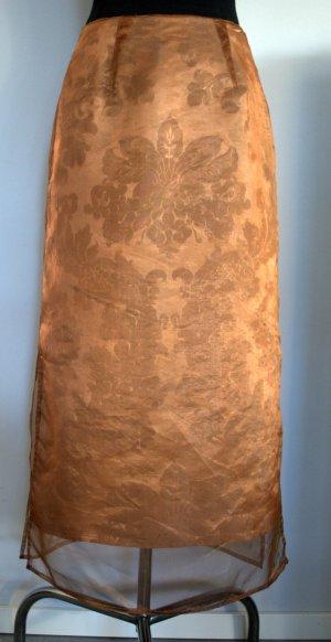Eleganter cognacfarbener Zweilagen-Maxirock mit floralem Muster