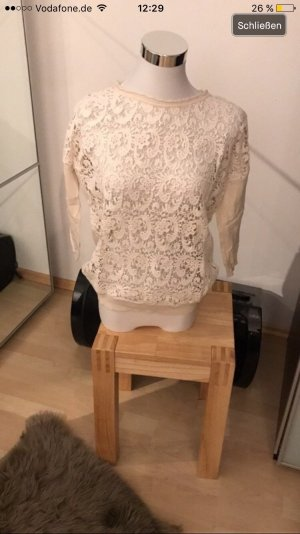Mango Sweater met korte mouwen wit-room Lycra