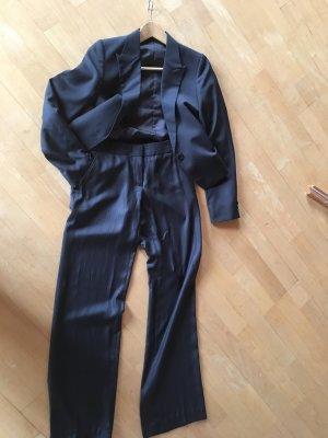 Eleganter Hosenanzug, grau-braun, Gr. 34
