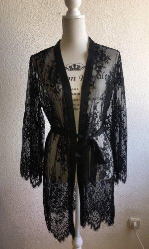 Eleganter Kimono aus schwarzer Spitze Doutzen Kollektion