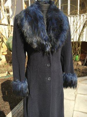 3 Suisses Floor-Lenght Coat dark blue wool