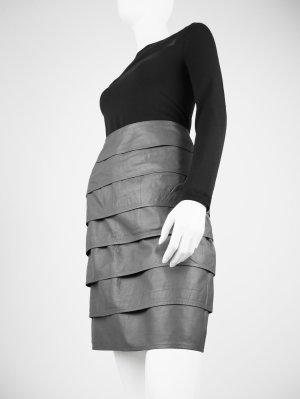 Falda de cuero gris Cuero