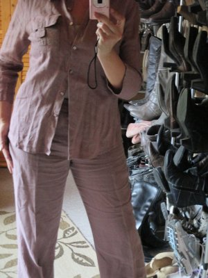 Naf naf Tailleur pantalone malva Lino