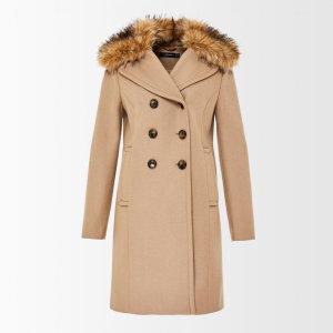 Eleganter Mantel mit abnehmbaren Fake-Fur-Kragen camel Gr.36 NP 230€