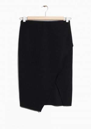 Eleganter Midi Rock Pencilskirt Schlitz Wickelrock &otherstories
